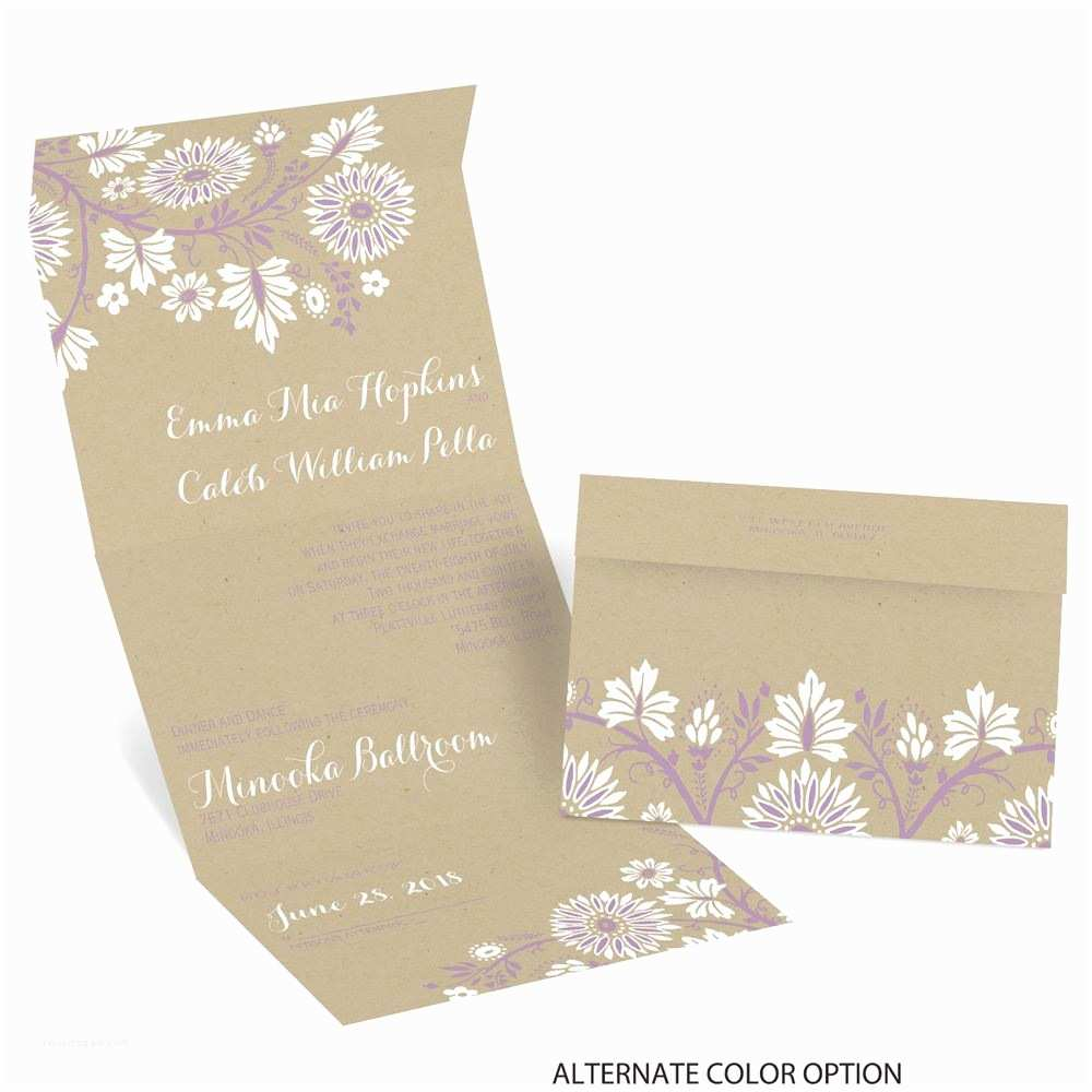 Custom Seal and Send Wedding Invitations Prairie Floral Seal and Send Invitation