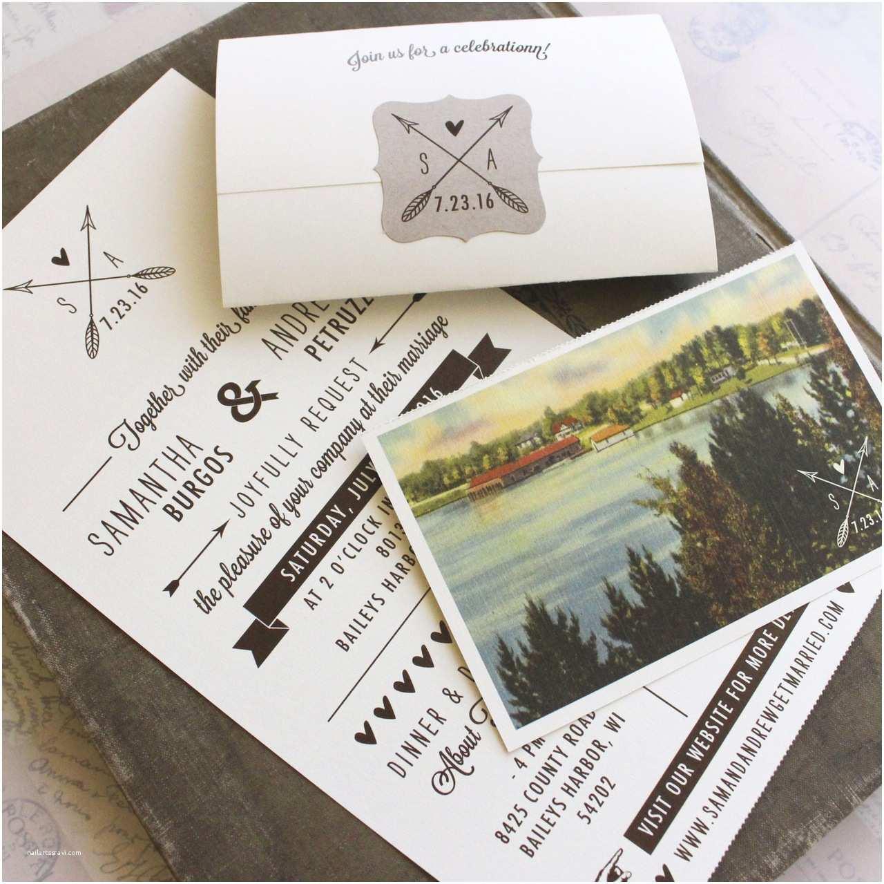 Custom Seal And Send Wedding Invitations Rustic Seal And Send Wedding Invitation