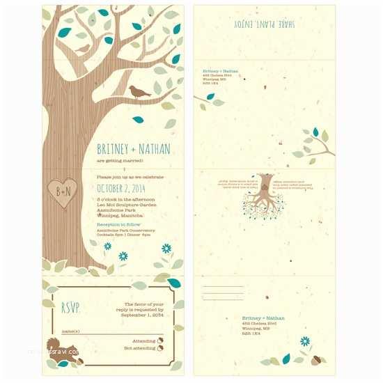 Custom Seal and Send Wedding Invitations Rustic Tree Seal and Send Invitation