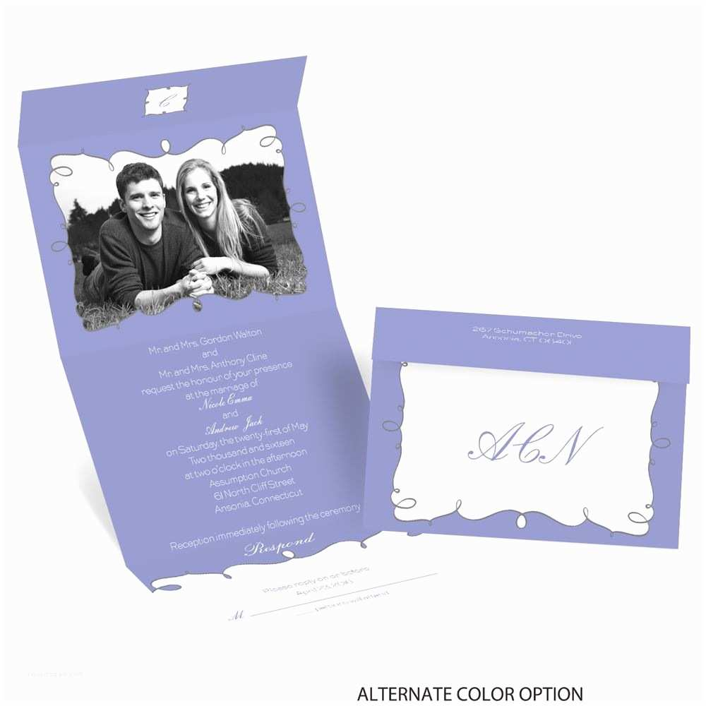 Custom Seal and Send Wedding Invitations Whimsy Frames Seal and Send Invitation