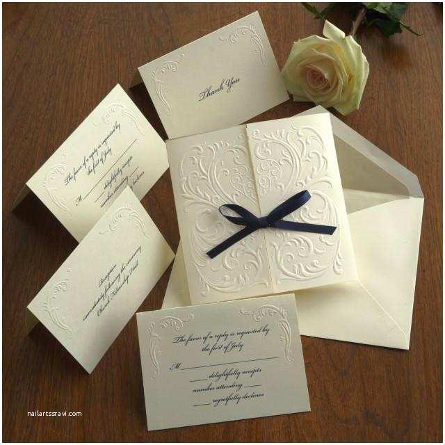 Custom thermography Wedding Invitations Blind Embossed Wedding Invitation Set Raised