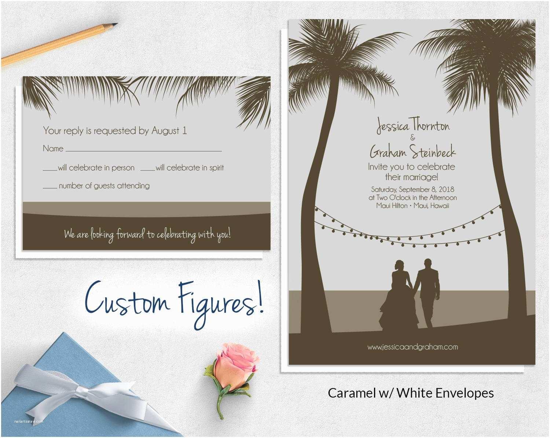 Custom thermography Wedding Invitations Custom Drawing Beach Wedding Invitations Wild Blue Weddings
