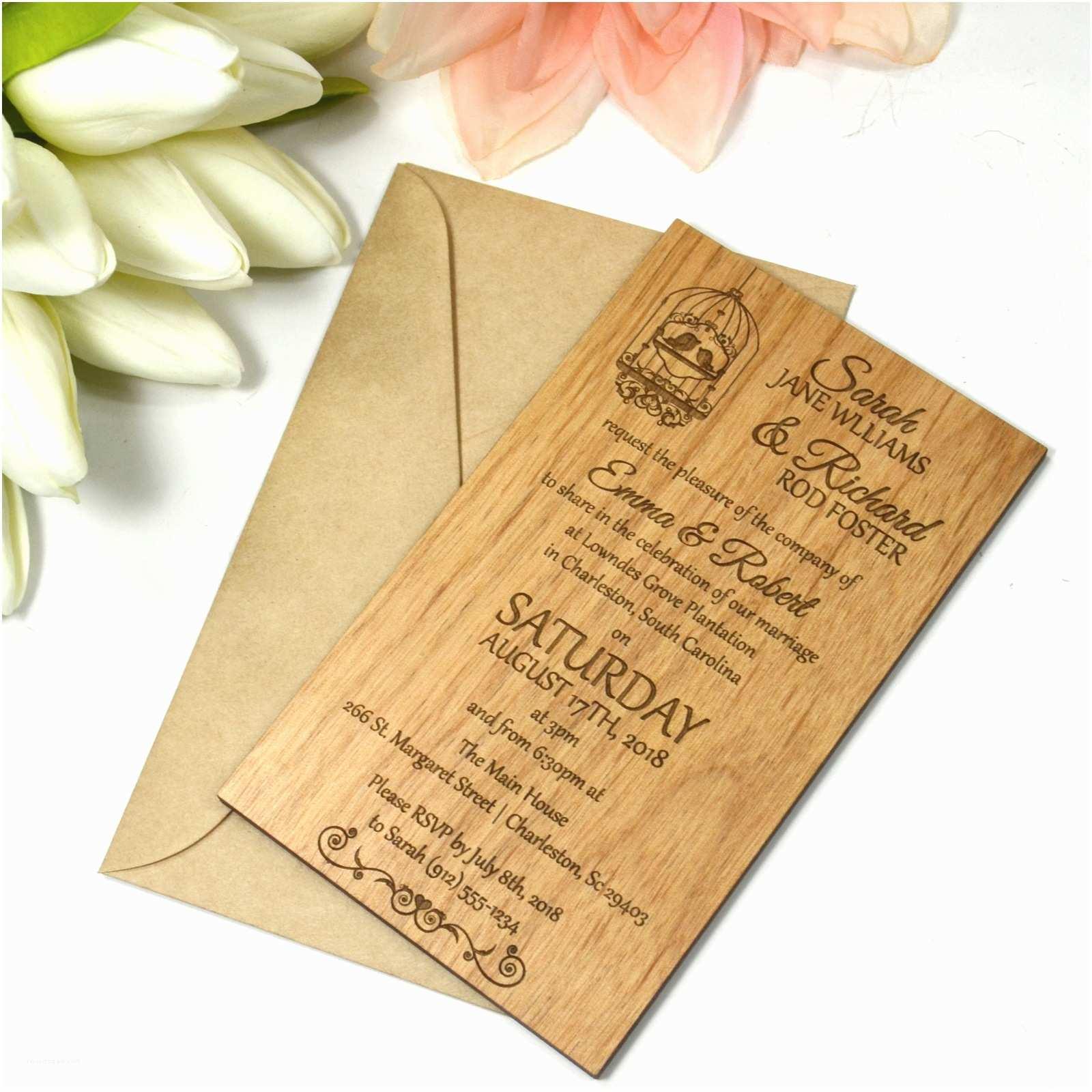 Custom thermography Wedding Invitations Engraved Wooden Portrait Invitations