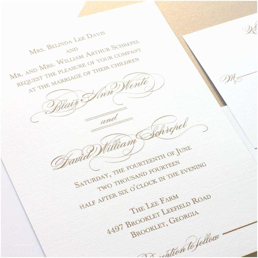 Custom thermography Wedding Invitations Gold thermography Wedding Invitation Elegant by Blushpaperie