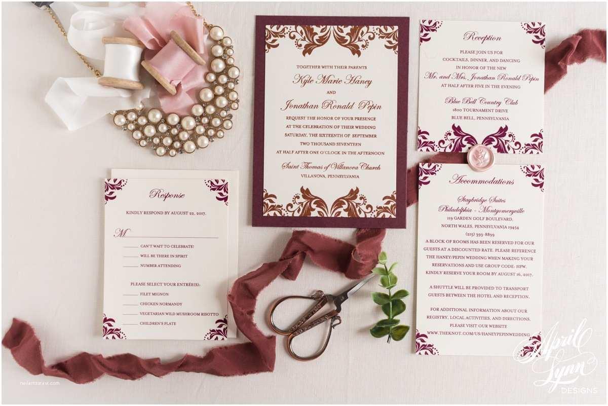 Custom thermography Wedding Invitations Kyle Jonathan's Bronze Metallic and Burgundy Wedding