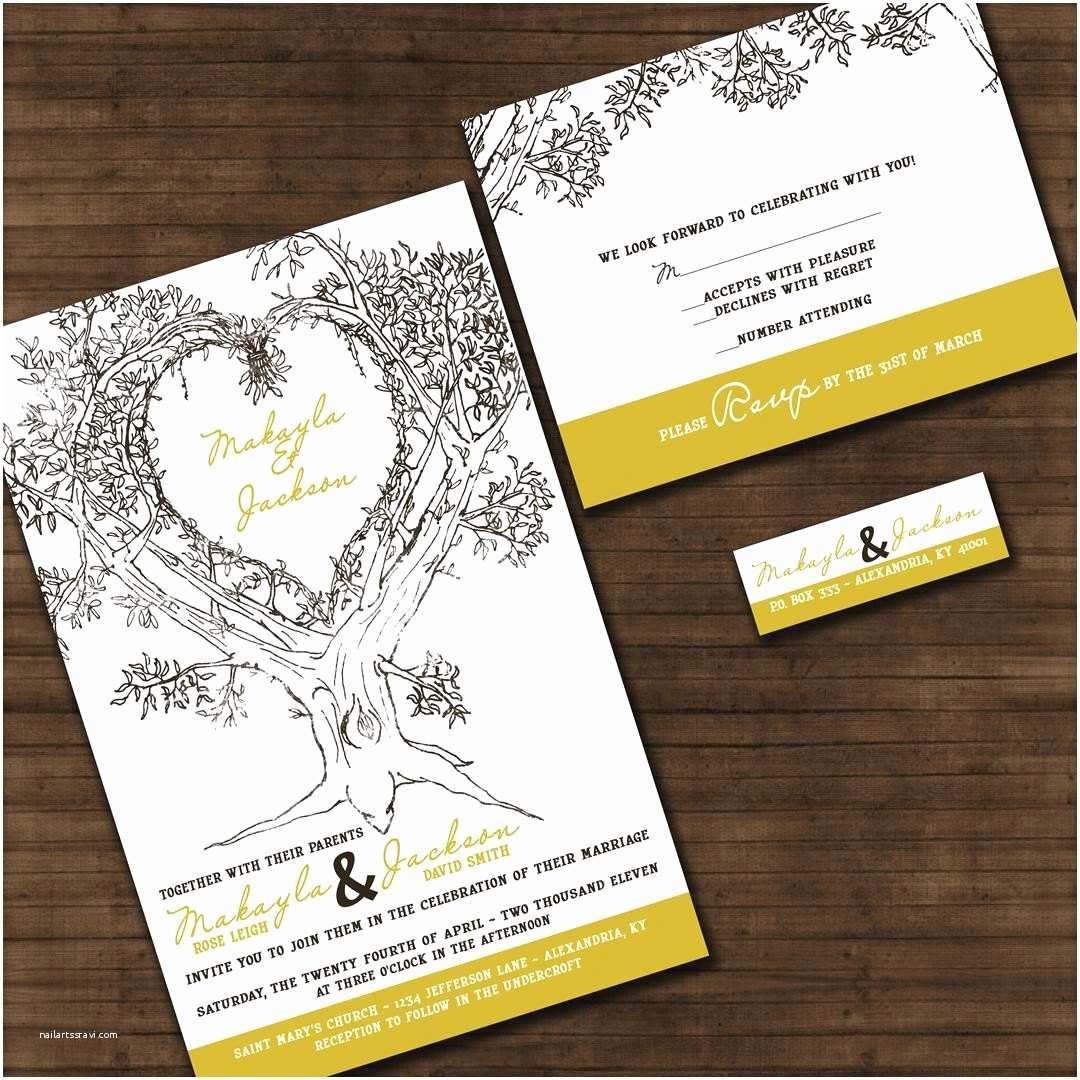 Custom thermography Wedding Invitations Personalized Oak Tree Wedding Invitation Sample Packet