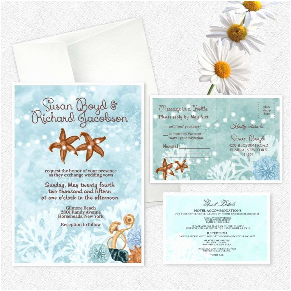 Custom Wedding Invitations Beach Wedding Invitations Custom Personalized Invites