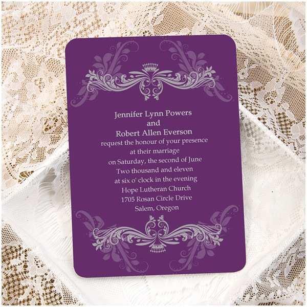 Custom Wedding Invitations Cheap Purple Damask Ticket Shape Custom Wedding Invitation