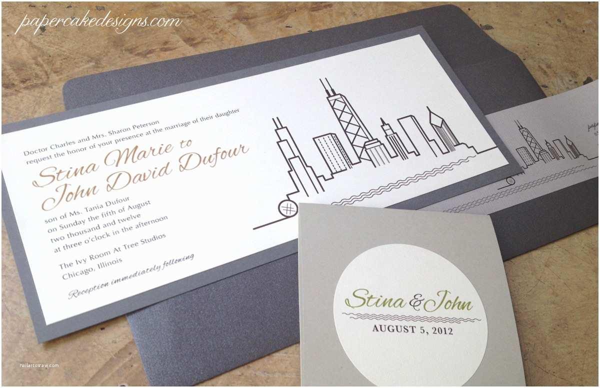 Custom Wedding Invitations [custom Wedding Invitation] City Skyline – Papercake Designs