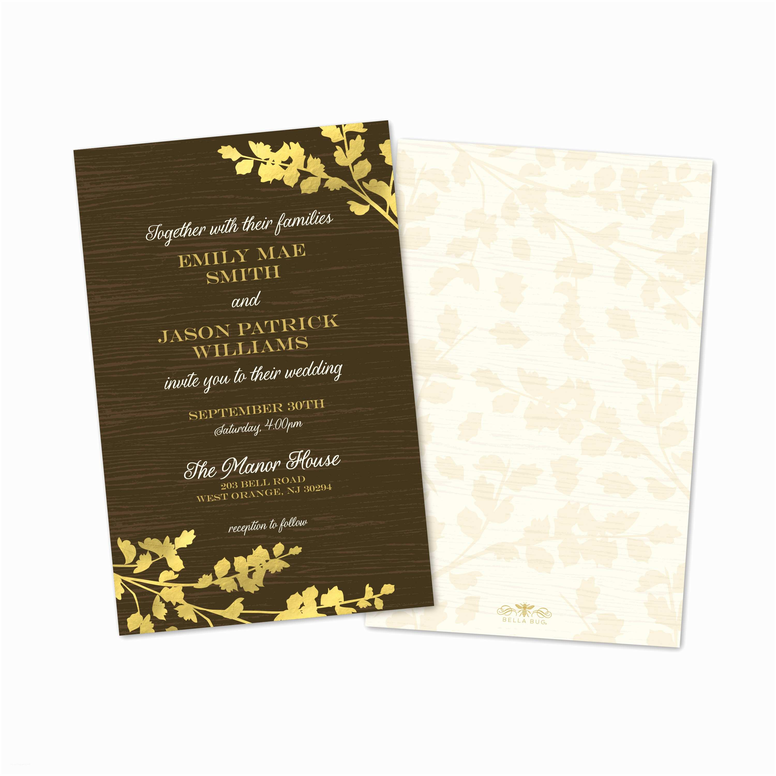 Custom Wedding Invitations Golden Leaves Personalized Wedding Invitations with