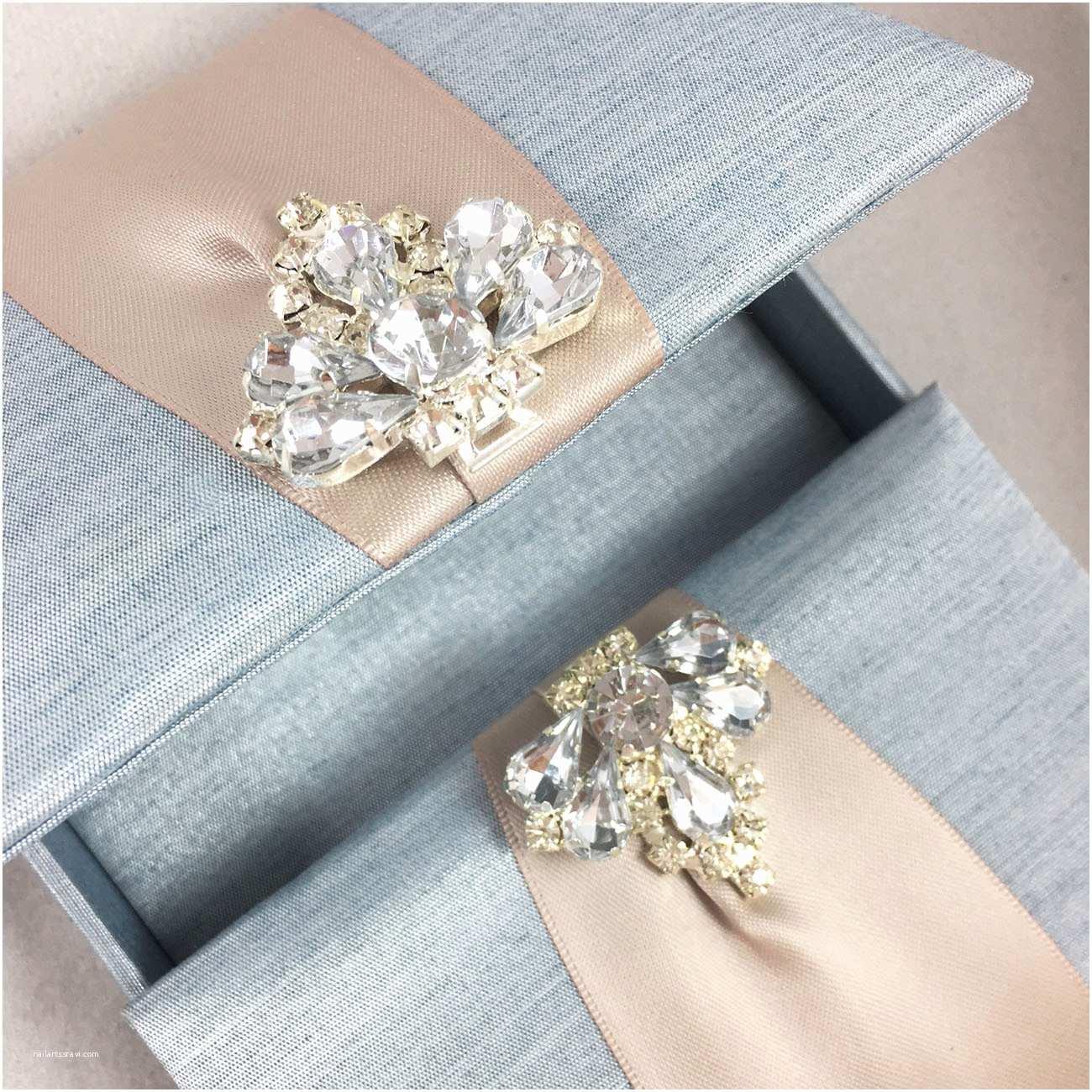Custom Wedding Invitations Mystic Blue Custom Invitation Box with Luxury Diamond