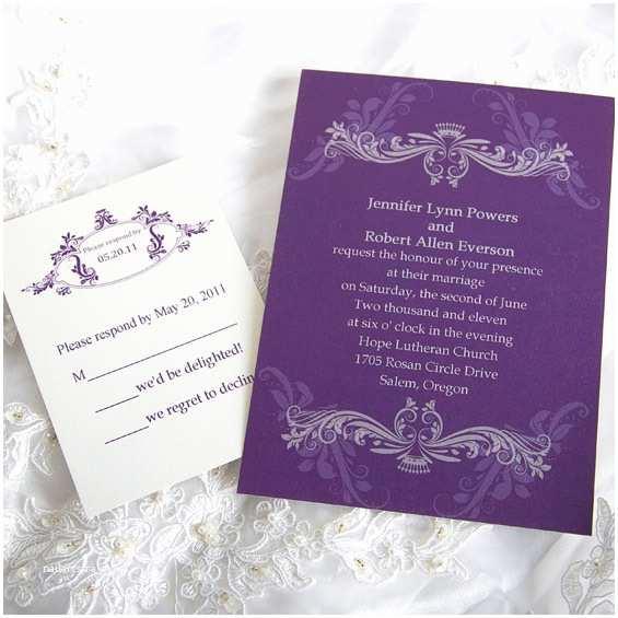 Custom Wedding Invitations Vintage Purple Damask Custom Wedding Invitation Cards