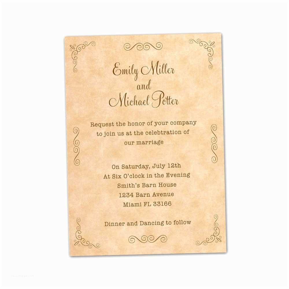 Customizable Wedding Invitations 100 Personalized Wedding Invitation Cards Vintage Rustic