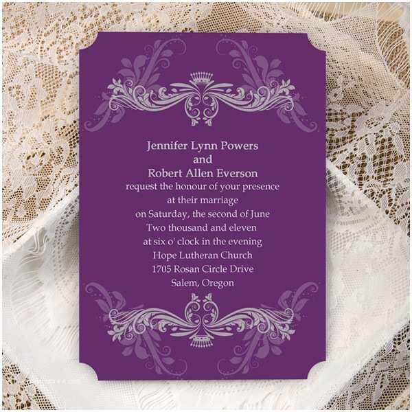 Customizable Wedding Invitations Cheap Purple Damask Ticket Shape Custom Wedding Invitation