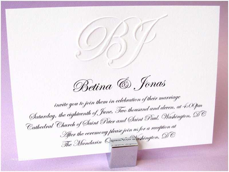 Customizable Wedding Invitations Custom Embossed Monogram Wedding Invitation Digby & Rose