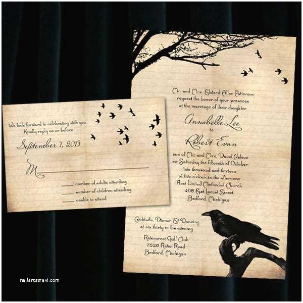 Customizable Wedding Invitations Custom Raven Halloween Wedding Invitations