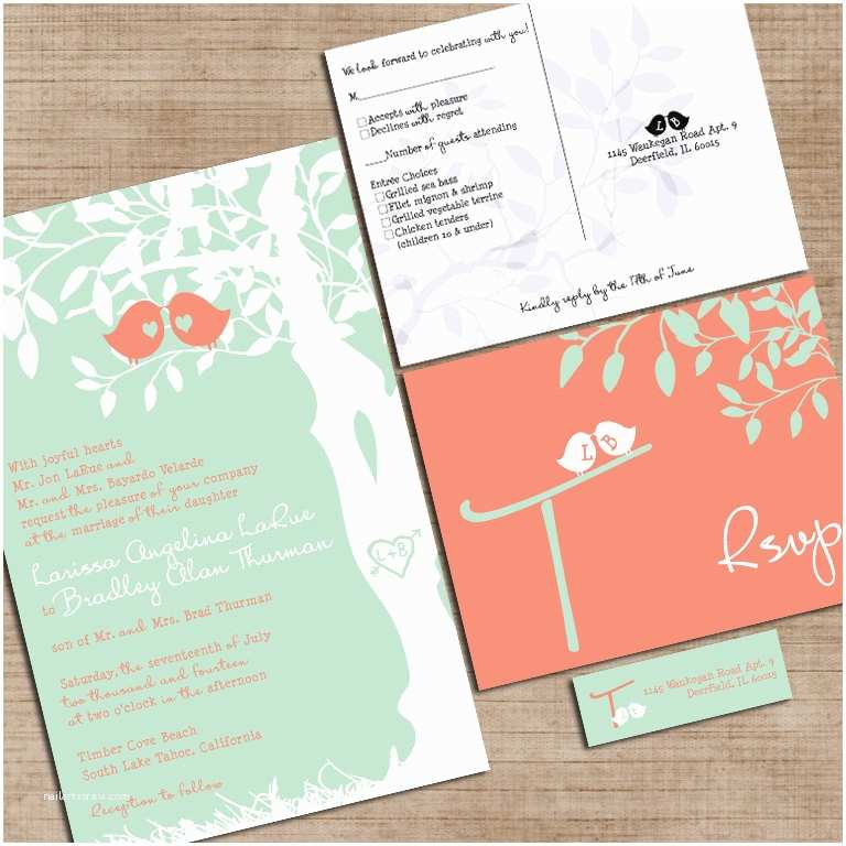 Customizable Wedding Invitations Mint Green and Coral Wedding Invitations Custom Love Bir S