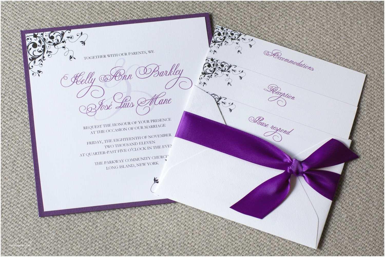 Customizable Wedding Invitations Square Wedding Invitations Purple Wedding Invitations