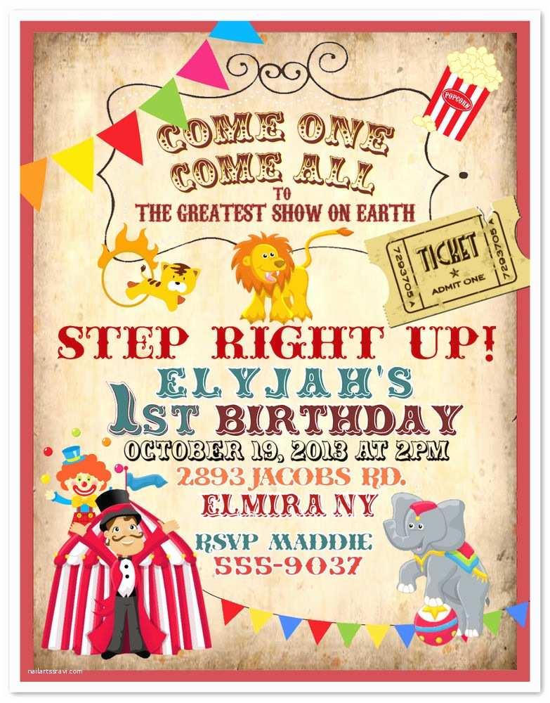Customized Birthday Invitations Circus Invitation Printable