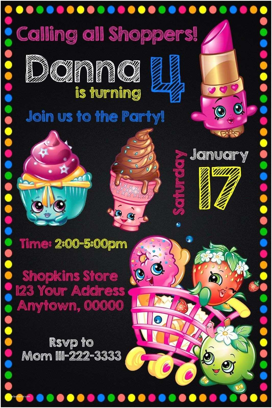 Customized Birthday Invitations 12 Shopkins Birthday Party Invitations Personalized Custom