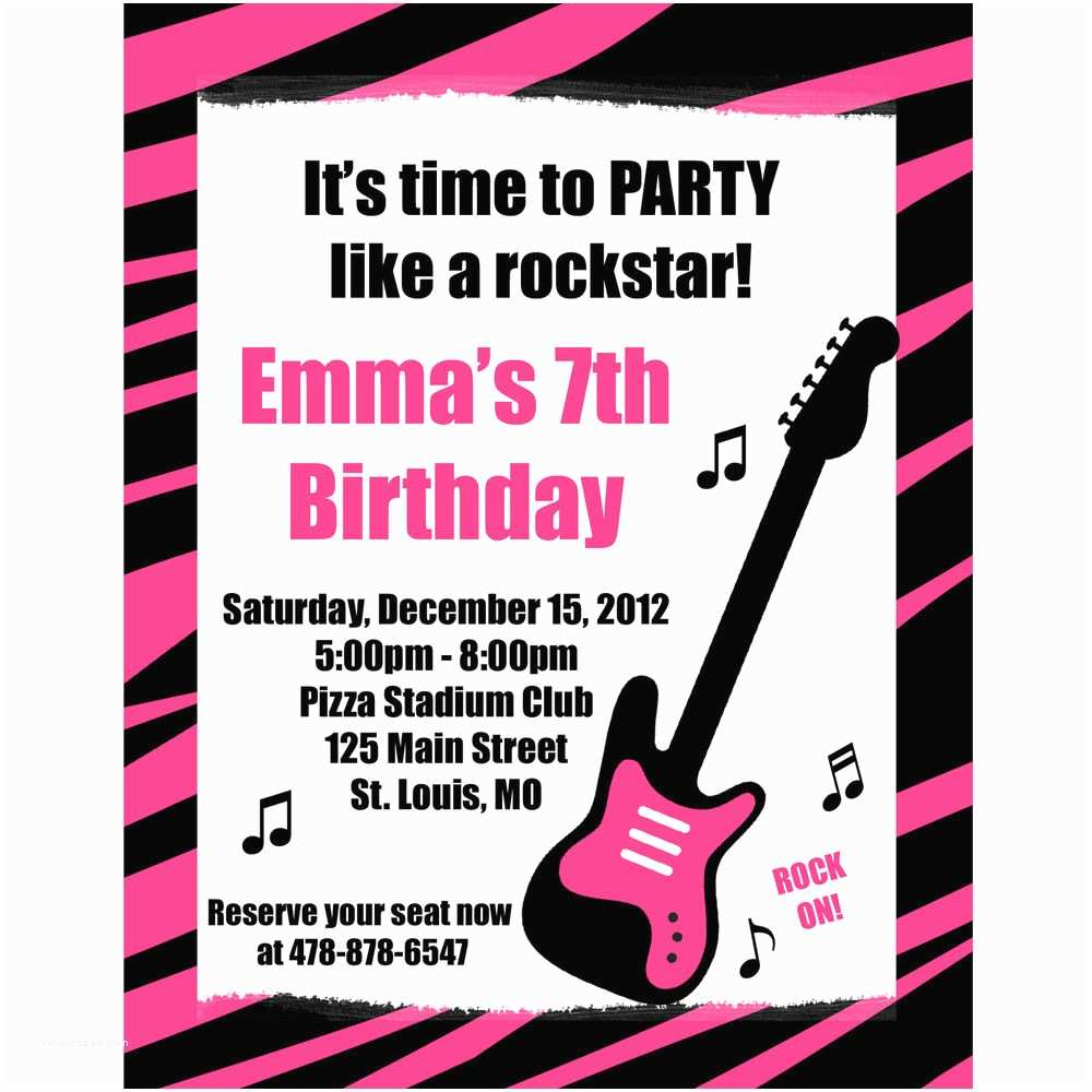 Customized Birthday Invitations 20 Personalized Birthday Invitations Pink Zebra Rock