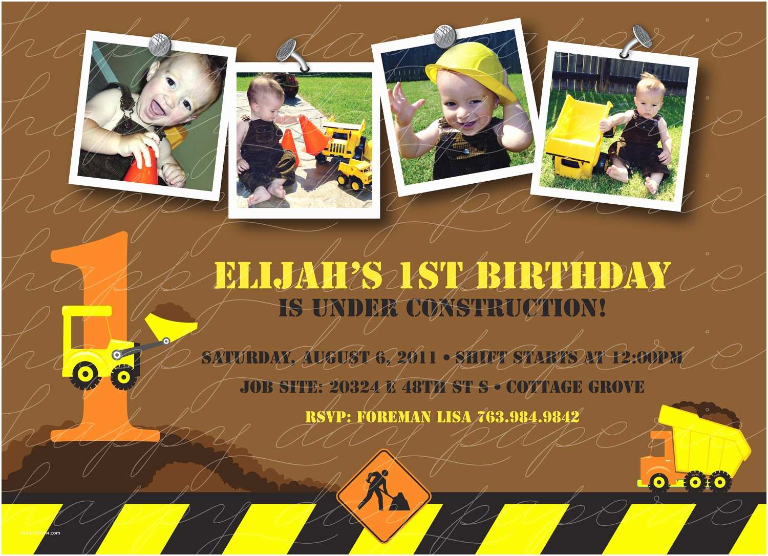 Customized Birthday Invitations Construction Zone Custom Birthday Invitation