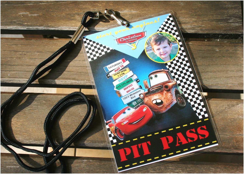 Customized Birthday Invitations Custom Personalized Pixar Cars Birthday Invitation Pit Pass