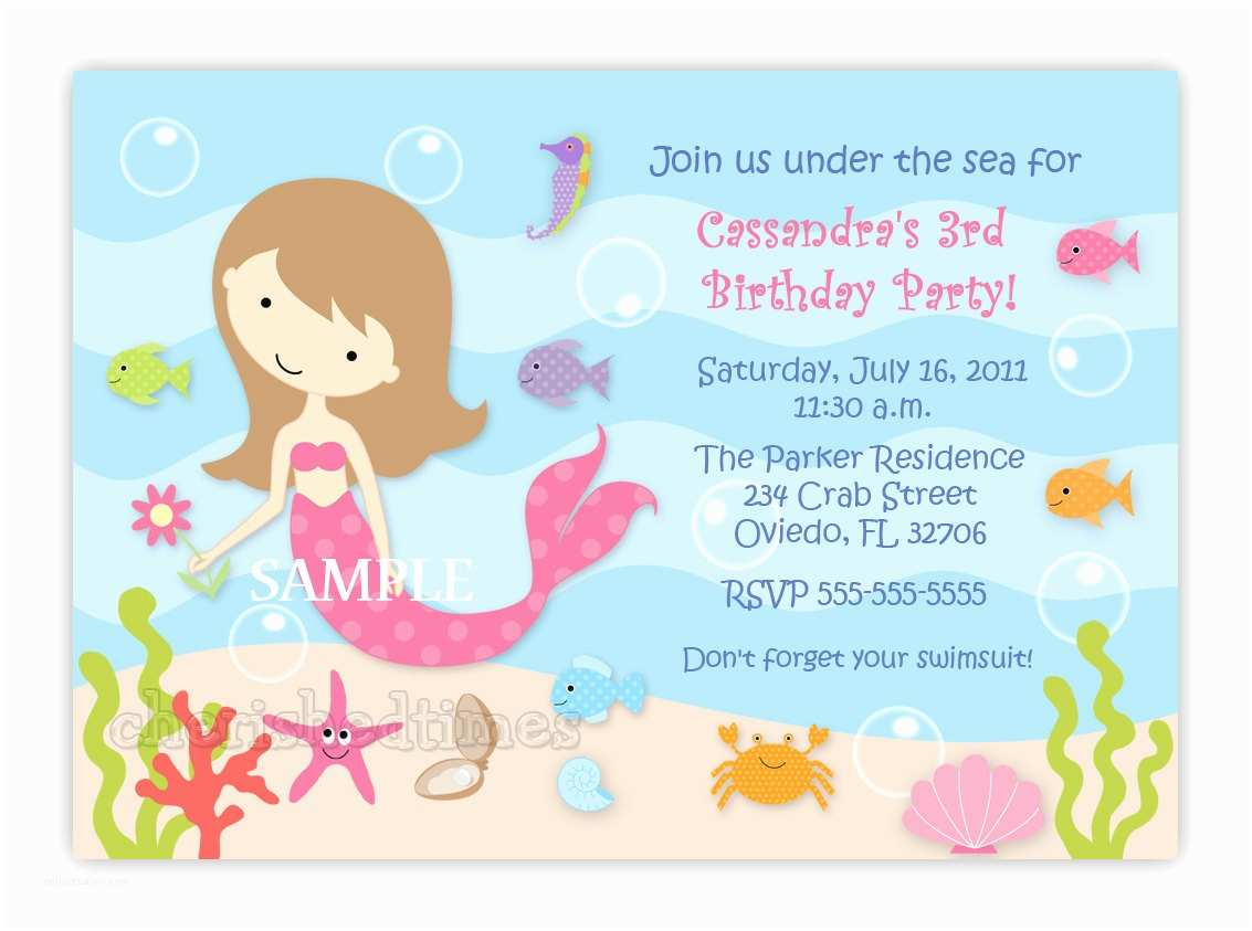 Customized Birthday Invitations Custom Sweet Mermaid Birthday Party Invitation Option with