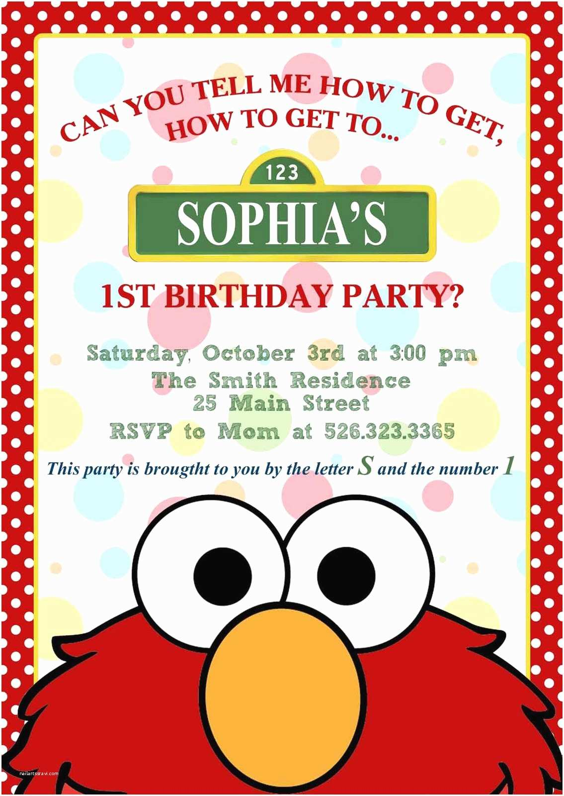 Customized Birthday Invitations Elmo Invitation