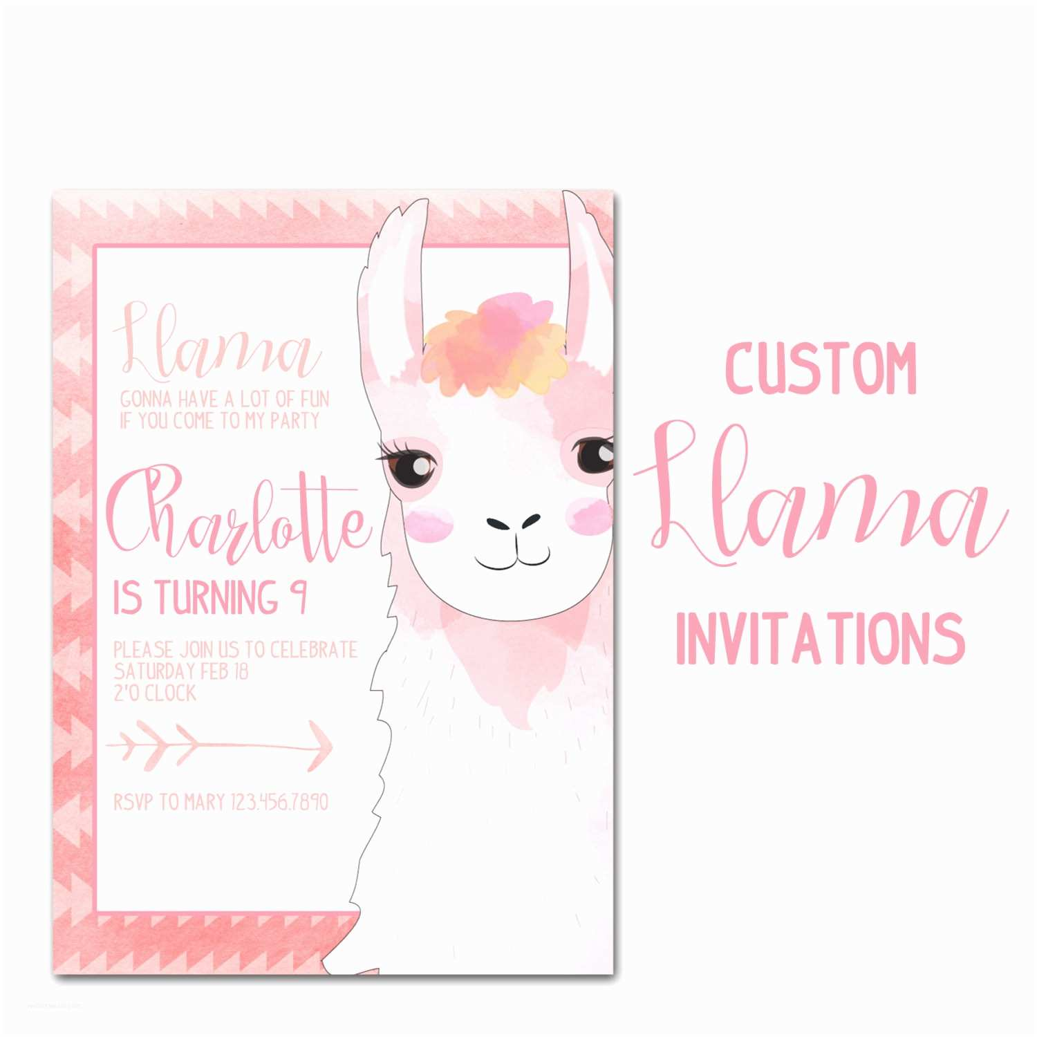 Customized Birthday Invitations Llama Birthday Party Invitation Custom Animal Birthday