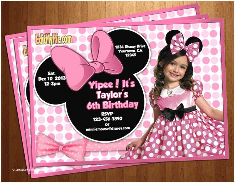 Customized Birthday Invitations Minnie Mouse Birthday Invitations Personalized