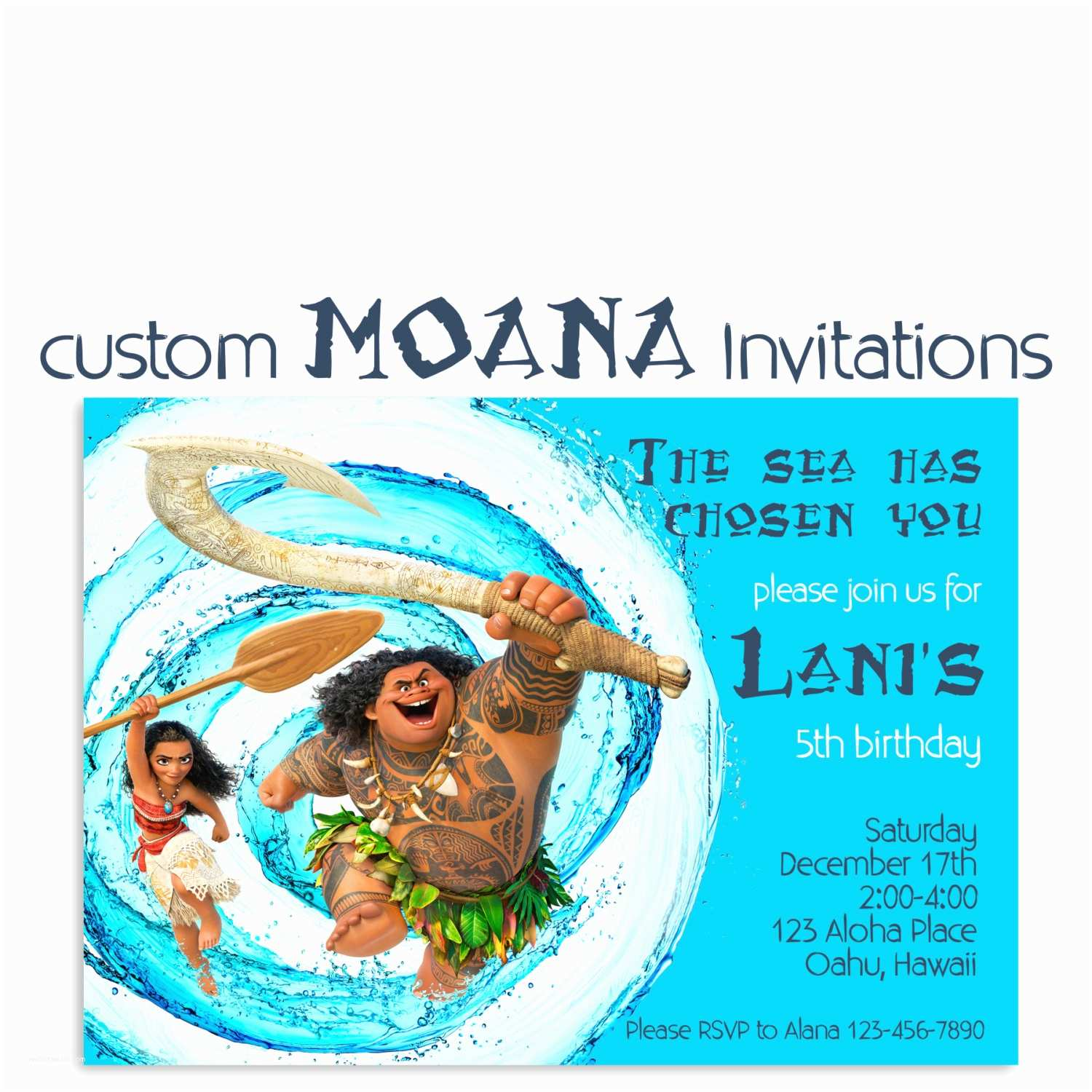 Customized Birthday Invitations Moana Birthday Invitation Custom Hawaiian Princess Party