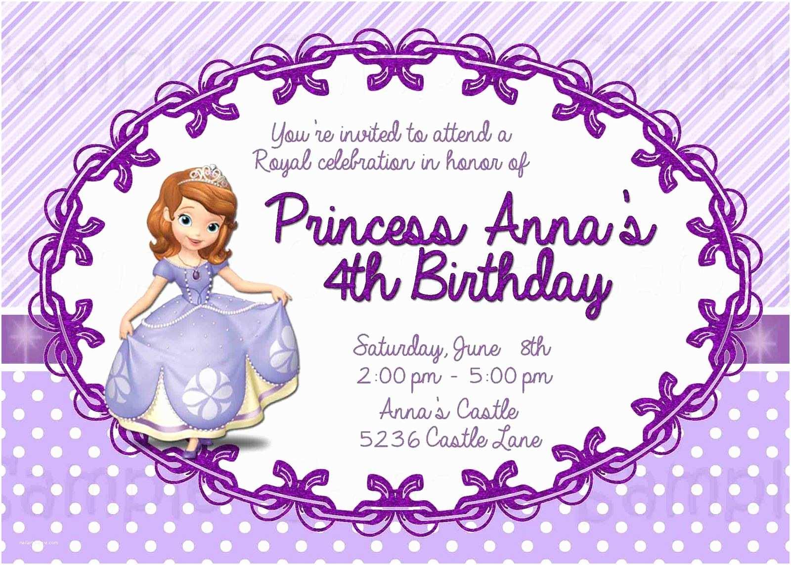 Customized Birthday Invitations sofia the First Personalized Birthday Invitations