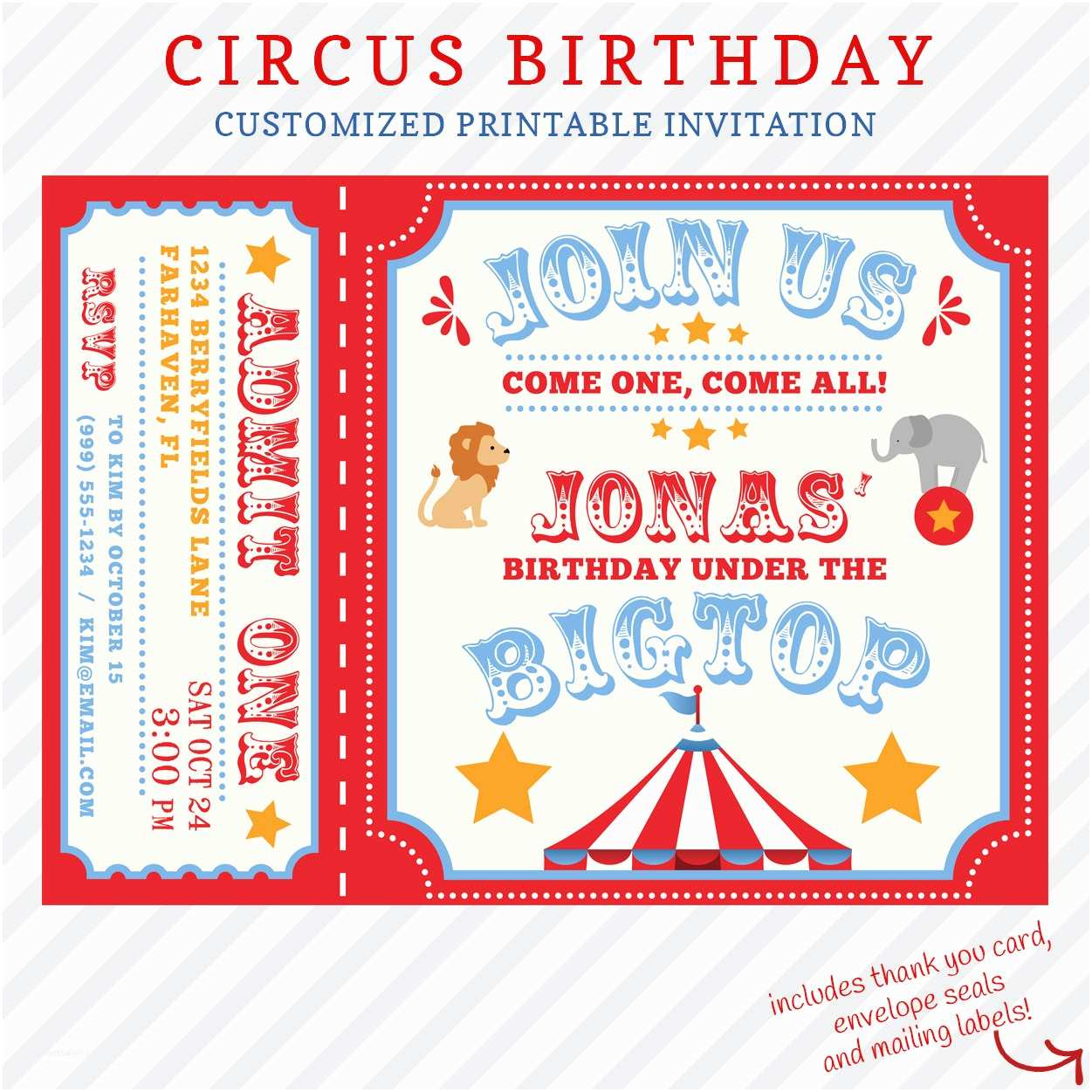 Customized Party Invitations Circus Birthday Invitation Printable Custom Invitation with