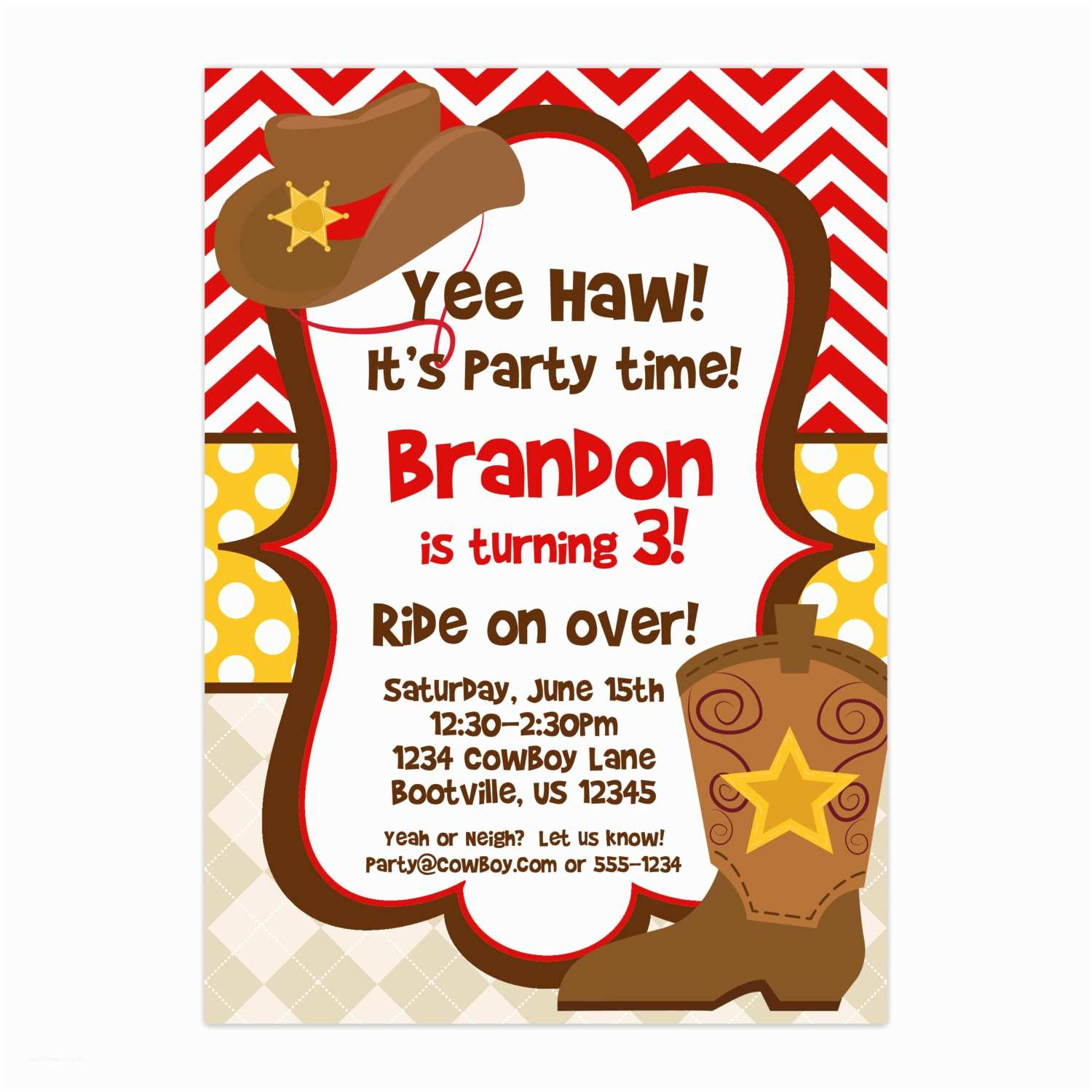 Customized Party Invitations Cowboy Invitation Red Chevron and Polka Dots Boys Cowboy