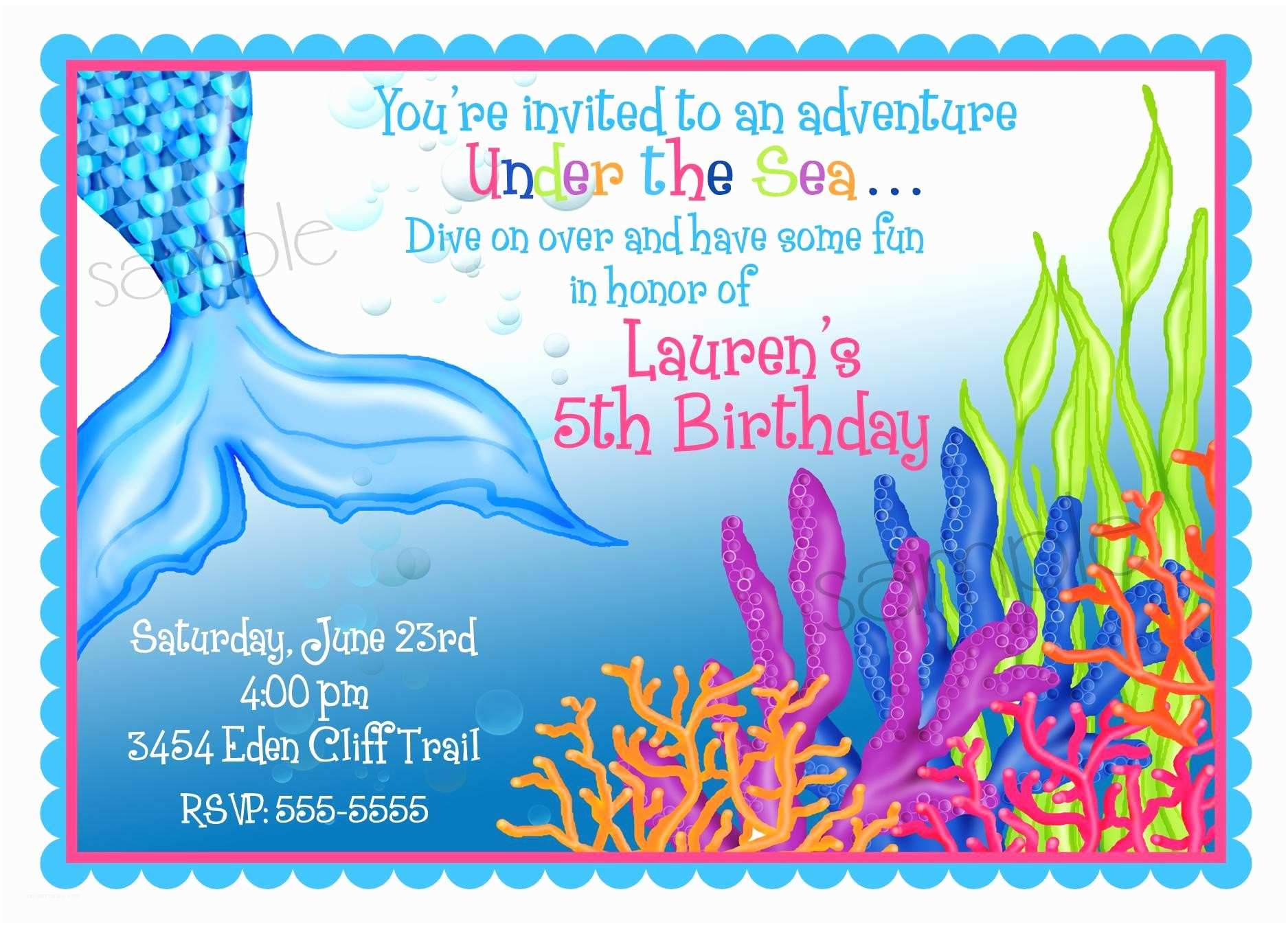 personalized invitations mermaid under