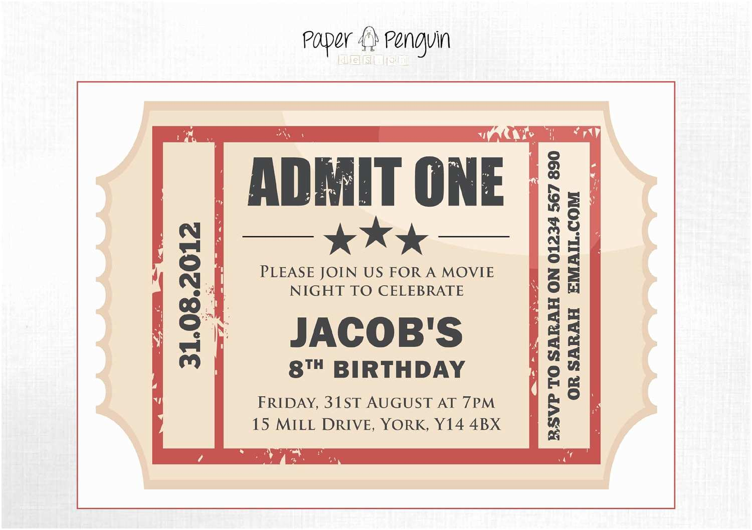 Customized Party Invitations Personalized Kid S Movie Ticket Party by Paperpenguindesign