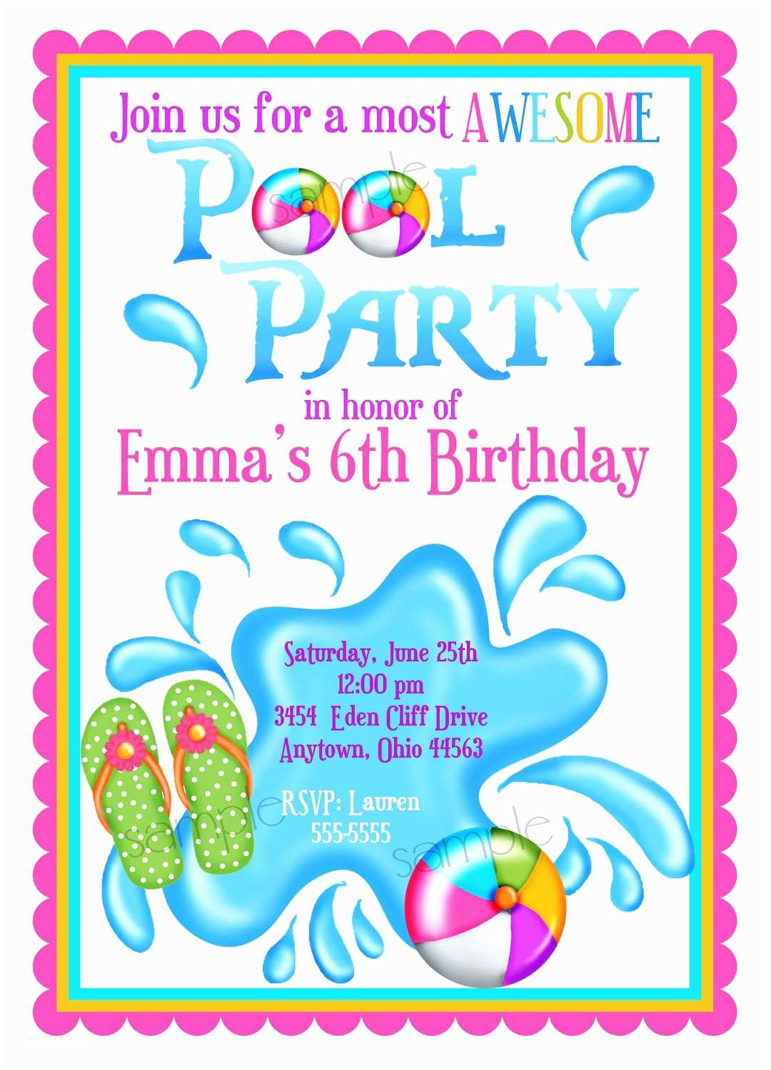 Customized Party Invitations Pool Party Invitations Personalized Invitations Girl