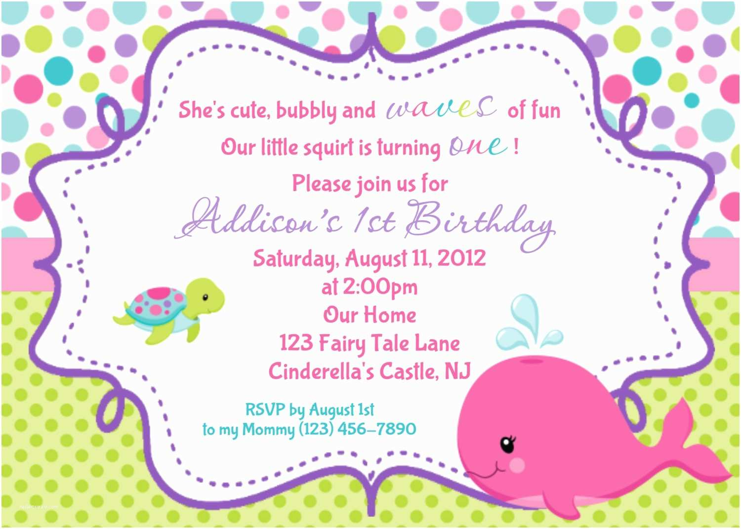 Customized Party Invitations Whale Birthday Invitation Personalized by Afairytalebeginning