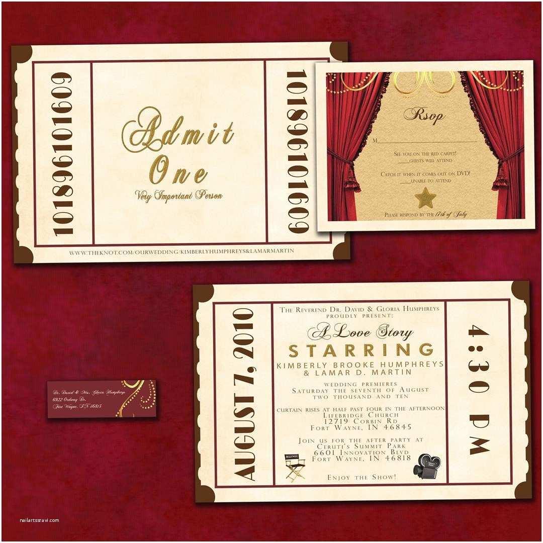Customized Wedding Invitations Antique theatre Ticket Custom Wedding Invitation Sample
