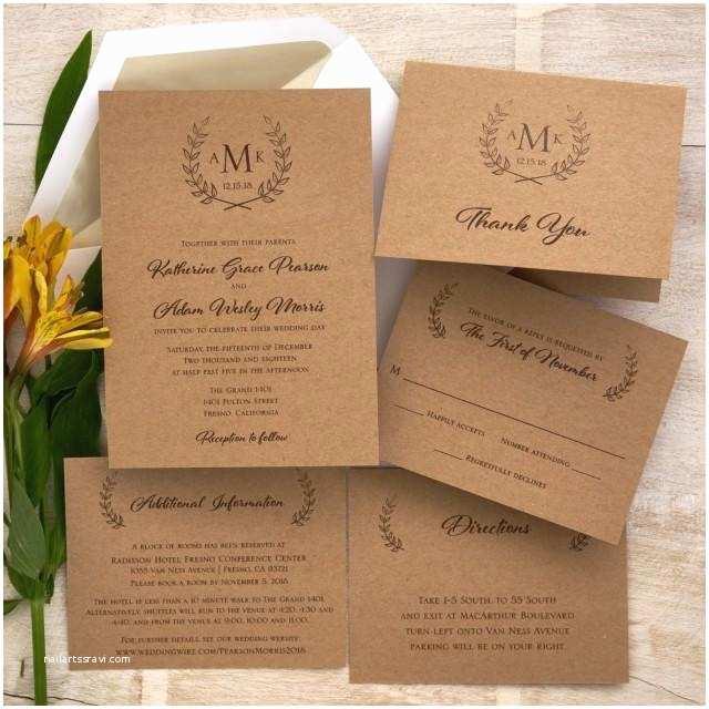 Customized Wedding Invitations Rustic Wedding Invitation Set Monogram Wedding Invite