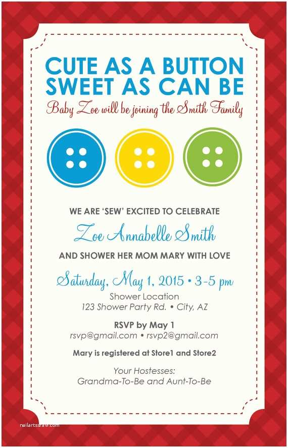 baby shower invitation cute as a button
