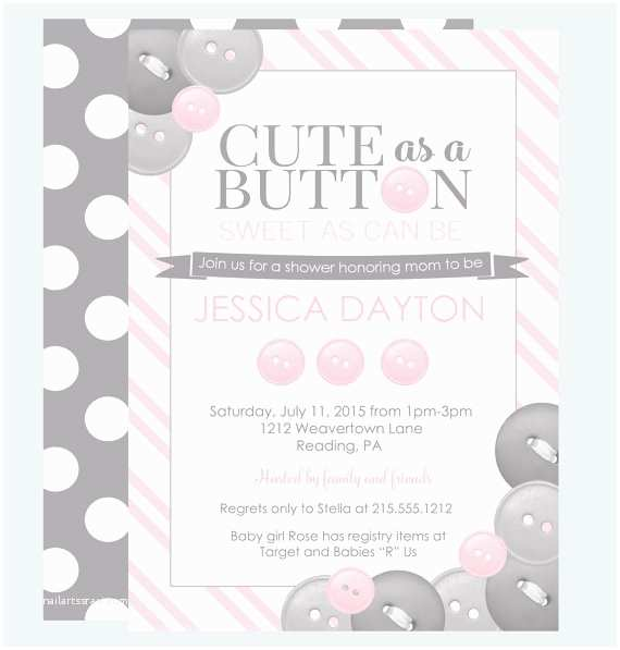 Cute as A button Baby Shower Invitations Cute as A button Baby Invitation Classic Baby by