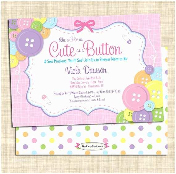 Cute as A button Baby Shower Invitations Cute as A button Baby Shower Invitation Girl Baby Shower