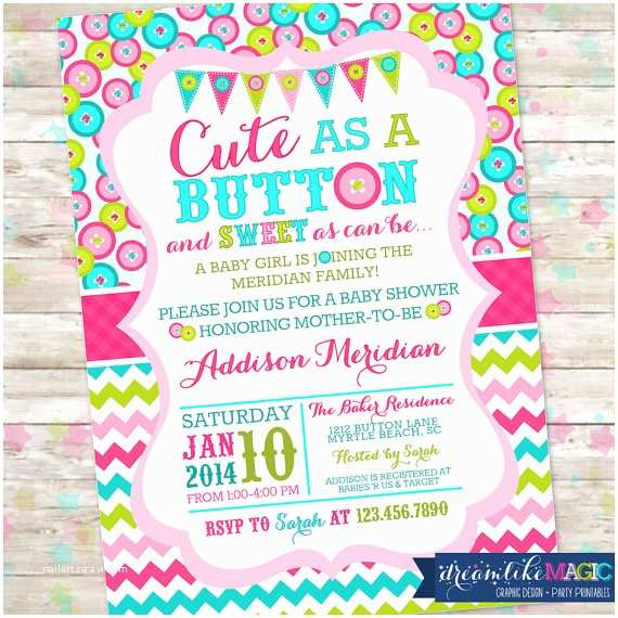 Cute as A button Baby Shower Invitations Cute as A button Baby Shower Invitation Printable Invite