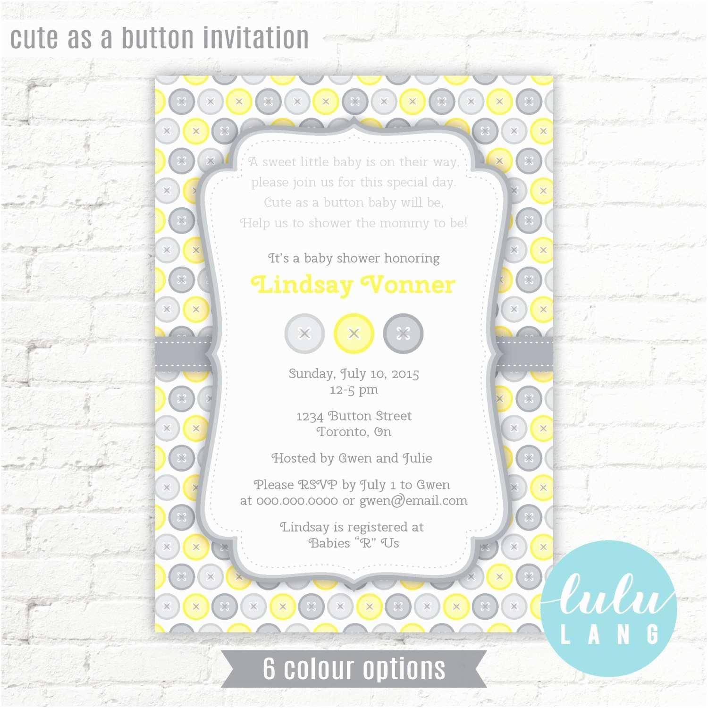 Cute as A button Baby Shower Invitations Cute as A button Baby Shower Invitation Printable