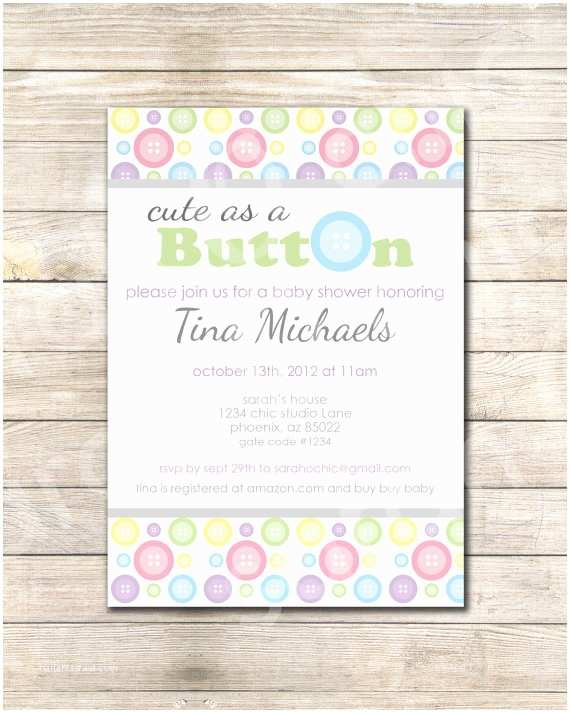 Cute as A button Baby Shower Invitations Cute as A button Baby Shower Invitations