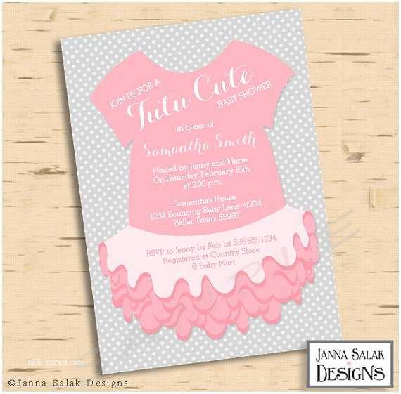 Cute Baby Shower Invitations Baby Girl Ballerina Tutu