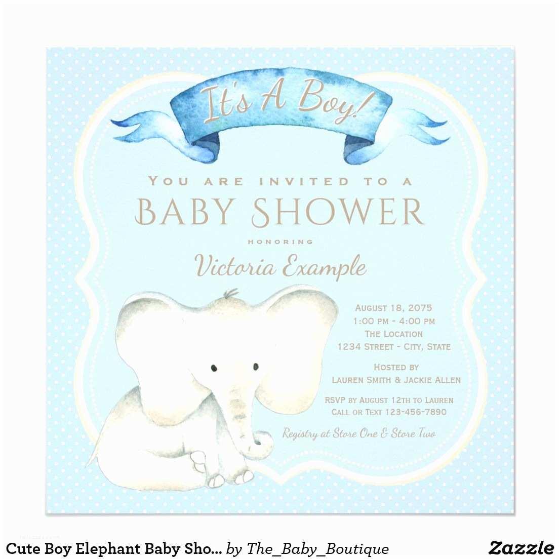 Cute Baby Shower Invitations Cute Boy Elephant Baby Shower Invitations Watercolor Baby
