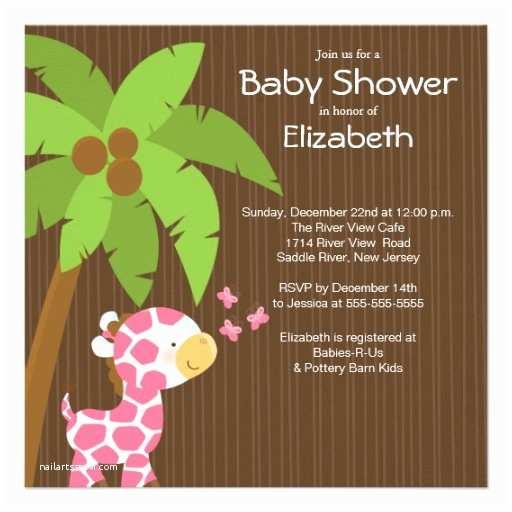 Cute Baby Shower Invitations Cute Jungle Giraffe Girl Baby Shower Invitations